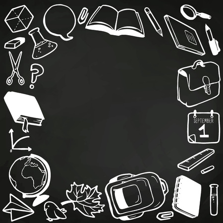 Frame with various school elements drawn in chalk on blackboard and place for your text Vector