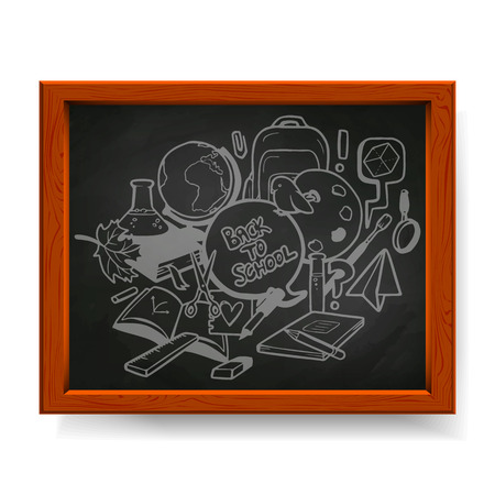 decorate notebook: Back to school illustration, various school elements drawn in chalk on blackboard