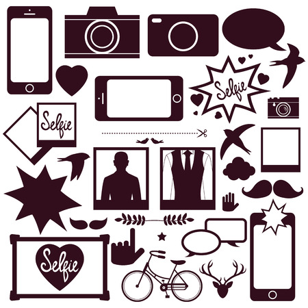 Set of modern media communication and hipster elements, camera, photo, selfie, Vector