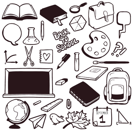 Set of various school elements, hand drawn collection of objects Vector