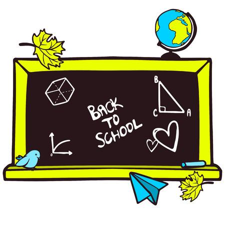 Cartoon hand drawn blackboard and some school elements Vector