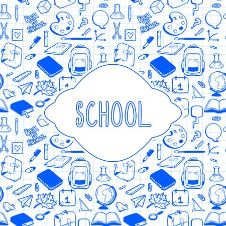 School theme card design, various hand drawn school elements Vector