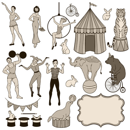 harlequin: Set of various circus elements: people, animals and decoration