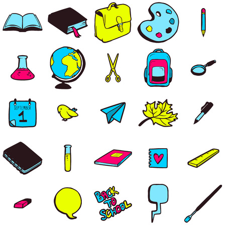 Set of various school elements, colorful hand drawn icons collection Vector