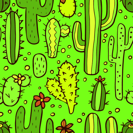 Seamless green pattern with cactus. Vector seamless texture for wallpapers, pattern fills, web page backgrounds Vector