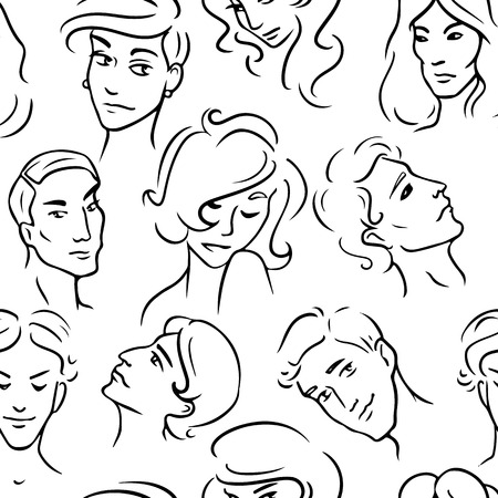 various people faces set of sketches royalty free cliparts vectors