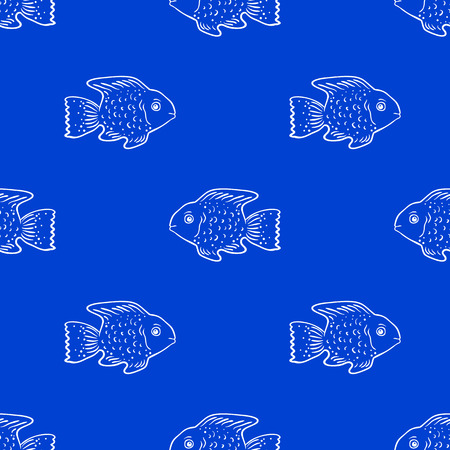 Seamless pattern with cute fish. Vector seamless texture for wallpapers, pattern fills, web page backgrounds Vector