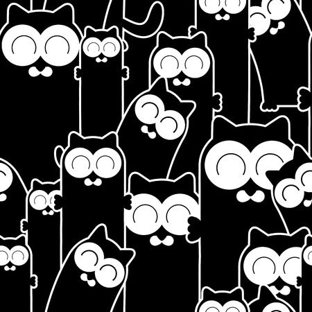 Seamless pattern with funny cats. Vector seamless texture for wallpapers, pattern fills, web page backgrounds Vector