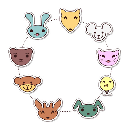 Cute childish frame with cartoon animal faces Vector