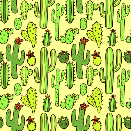 cactus cartoon: Seamless pattern with cactus in desert. Vector seamless texture for wallpapers, pattern fills, web page backgrounds