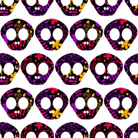 Seamless pattern with human skulls.  Vector