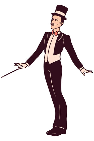 magician: Magician in suit holding a wand
