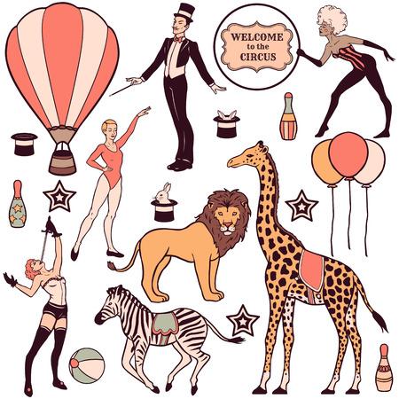 Set van verschillende circus elementen, mensen, dieren en decoraties