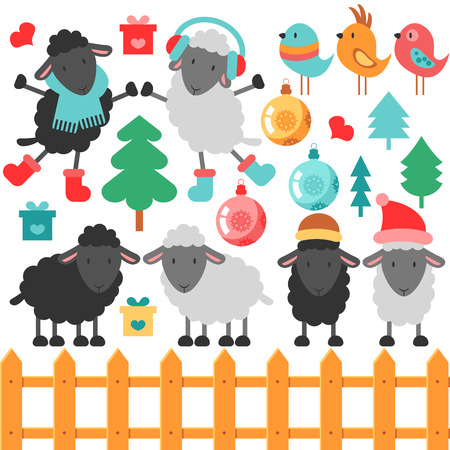 Set of cute sheep and christmas elements Vector