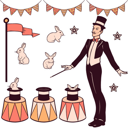 Set of magic performance elements, the magician, cylinder, white rabbits and decorations Vectores