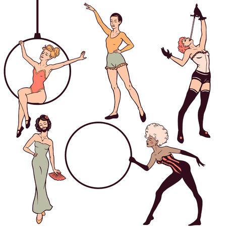 sword act: Set of circus girls