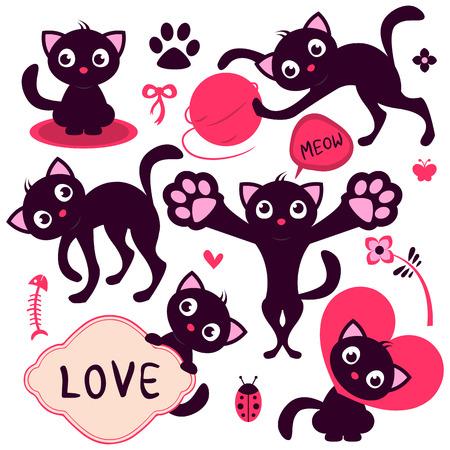 Set of cute playful cartoon kittens Vector