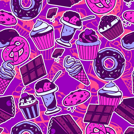 custard: Seamless pattern with sweet food, cakes, chocolate, ice-cream, cookies. Vector seamless texture for wallpapers, pattern fills, web page backgrounds