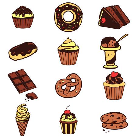 甘い食べ物: 様々 なデザート、甘い食品、ケーキ、クッキー、アイス クリームのセット  イラスト・ベクター素材