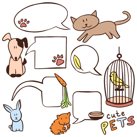 Set of cute hand drawn pets and speech bubbles Vector