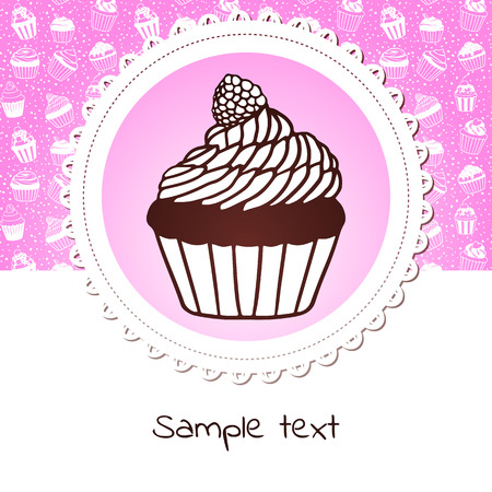 Cute banner with sweet cupcake Vector