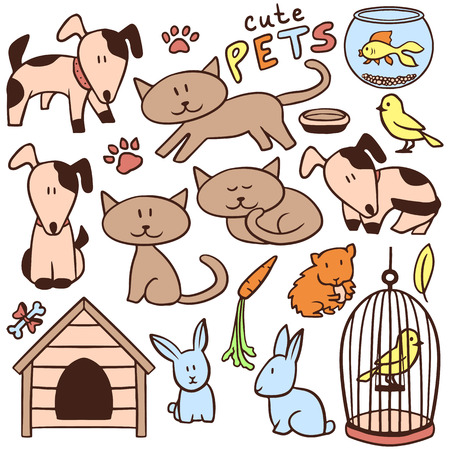 Set of cute hand drawn pets and various elements Vector
