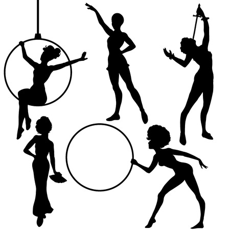 sword act: Set of circus girls silhouettes