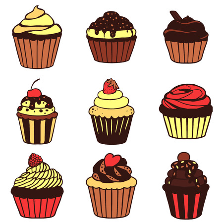Set of hand drawn vector cupcakes