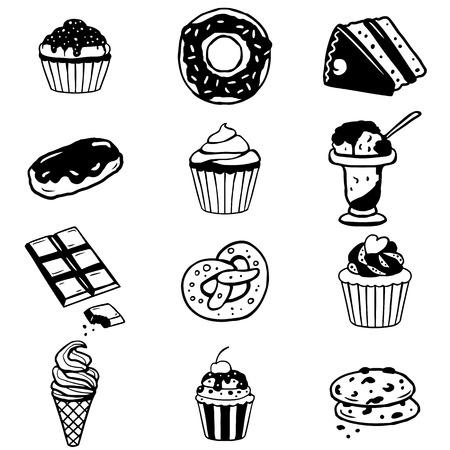 eclair: Set of various desserts, sweet food, cakes, cookies, ice-cream