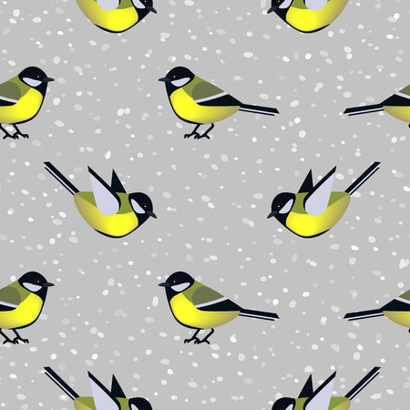 tit: Seamless pattern with cute tit birds in winter. Vector seamless texture for wallpapers, pattern fills, web page backgrounds