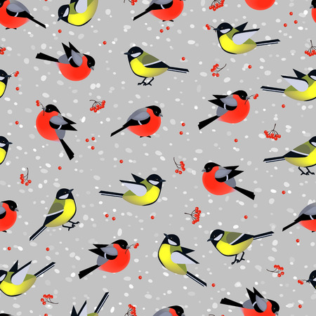 Seamless pattern with cute birds bullfinches and tits in winter. Vector seamless texture for wallpapers, pattern fills, web page backgrounds Vector