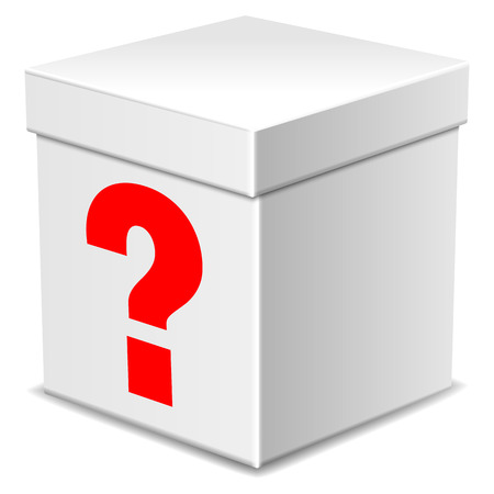 Mysterious white box with question mark isolated on white Banco de Imagens - 34321740
