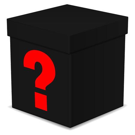 Mysterieuze zwarte doos met vraagteken op wit wordt geïsoleerd