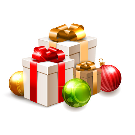 Christmas illustration with gift boxes and shiny baubles isolated on white Vector