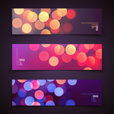Set of vector banners, realistic abstract background with blurred defocused colorful bokeh lights Vector