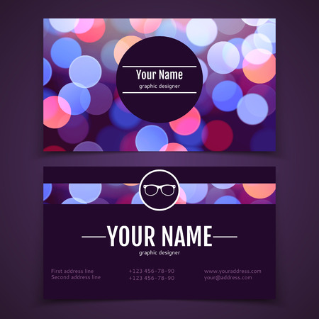 Business card template with defocused colorful bokeh design