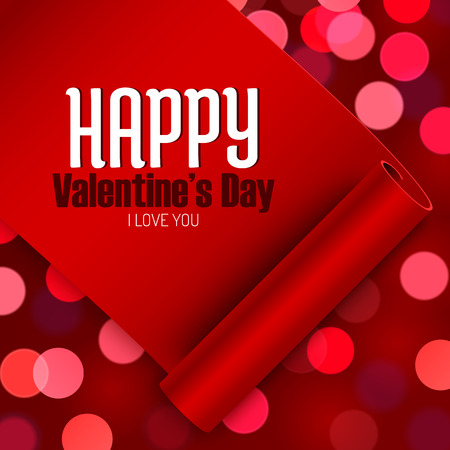 Valentines Day greeting card, love message on red ribbon on boken background Vector