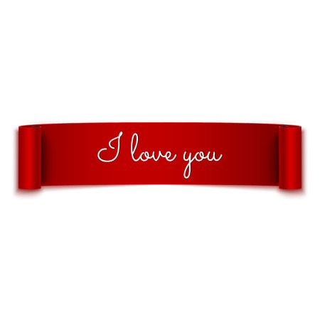 ribbons: I love you message on red ribbon banner isolated on white