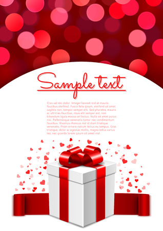 Valentines Day card template with surprise gift box and bokeh background Vector
