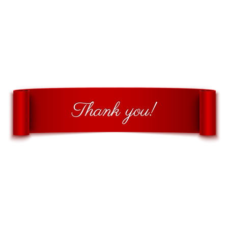 Thank you message on red ribbon banner isolated on white Stock Illustratie