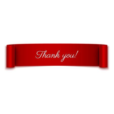 Gracias mensaje en bandera de la cinta roja aislada en blanco Foto de archivo - 34655106
