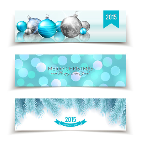 Set of Christmas and New Year banners with balls, fir branches and defocused bokeh background Vector