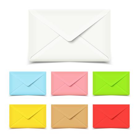 envelope: Blank vector envelopes isolated on white, set of various colors Illustration