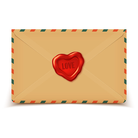 Old retro vector envelope with wax seal in heart shape, love letter illustration Vector