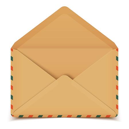 enveloppe ancienne: Blank retro vecteur enveloppe ouverte isol� sur blanc