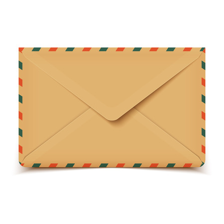 enveloppe ancienne: Vieille enveloppe r�tro vecteur blanc isol� sur blanc