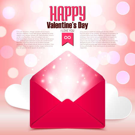 valentine background: Valentine day postcard with love letter surprise on defocused bokeh background, vector illustration