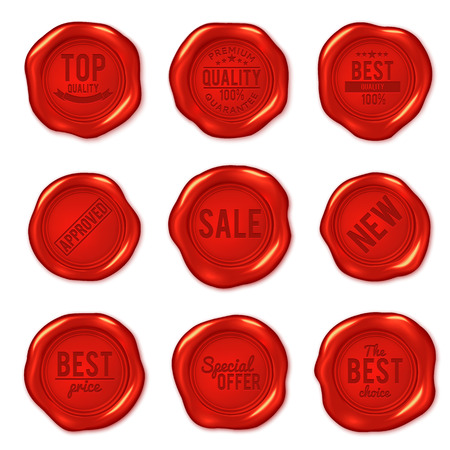 waxing: Set of vector red wax seals isolated on white. Premium quality, best choice, special offer, new, best price