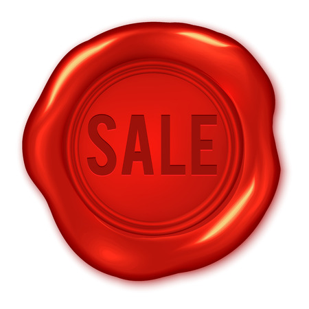 wax stamp: Sale text on vector red wax seal isolated on white