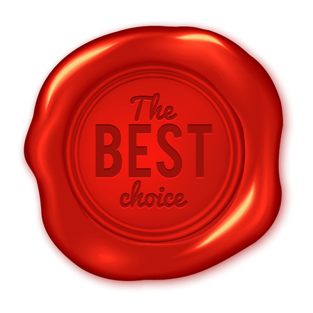 waxing: The best choice text on vector red wax seal isolated on white